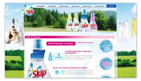 Skip . Site internet Skip.fr . Page gamme Petit&Puissant