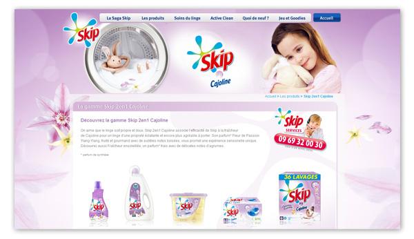 Skip . Site internet Skip.fr . Page gamme Skip/Cajoline
