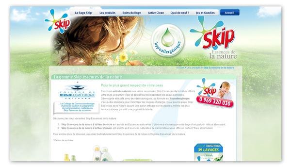 Skip . Site internet Skip.fr . Page gamme Skip Essences de la Nature