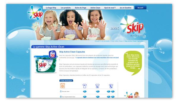 Skip . Site internet Skip.fr . Page produit Active Clean