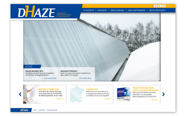 Dhaze . Site internet . Homepage